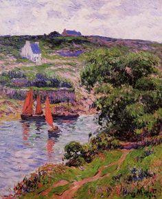 Dolain, Finistere, huile sur toile de Henri Moret (1856-1913, France)