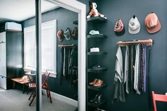 Corner shelves | Additional shelving in the bedroom provides extra storage.