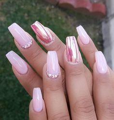 Pink chrome accent nail with Swarovski crystals; start creating your nails at https://www.instagram.com/p/BH2gd81jtYn/. Nails by @sabrina_ils.