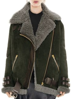 ACNE Peat green oversized shearling jacket