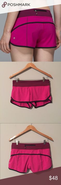 Lululemon speed shorts Lululemon speed shorts, jeweled magenta/dashing purple, perfect condition with no flaws, size 6, satisfaction guaranteed. Bundle to save 😊🌺💜 lululemon athletica Shorts