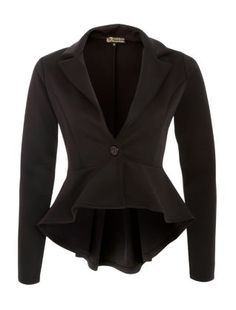 Black (Black) Parisian Black Dip Hem Peplum Jacket | 284105901 | New Look