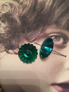 Vintage Swarovski 18mm Margarita Sew On Emerald AB  8224GRN x2 by dimestoreemporium on Etsy