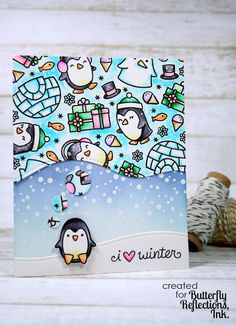 Butterfly Reflections, Ink.: Lawn Fawn Snow Cool & Toboggan Together Card by Cassie.