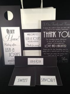 Wedding welcome bag to give guests when they arrive to California. Read the thank you card.... its perfect!!!