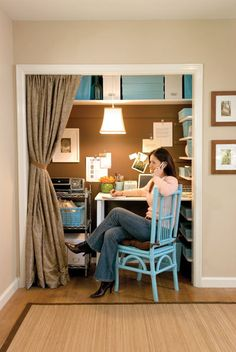 I like the idea of having a 'closet' office. Particularly living in a small space/apartment.