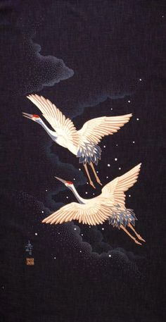 i love Cranes, symbolizing longevity as they're fabled to live for 1000 years & id like to live forever :-) japanese fabric Japanese Artwork, Japanese Prints, Japanese Fabric, Japanese Crane, Chinese Painting, Chinese Art, Image Deco, Art Asiatique, Traditional Japanese Art