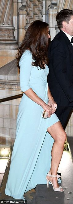 Kate pictured arriving at the black tie event