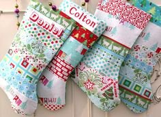 Personalized Set of 4 Patchwork-Christmas by Bagzgirl on Etsy