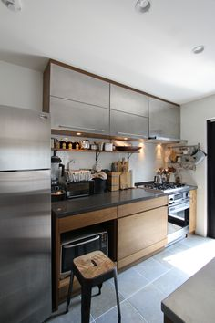 stainless + wood #kitchen