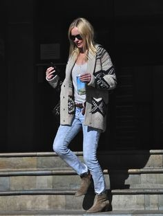 ugh, so comfy cute! Topshop navajo sweater on Kate Bosworth