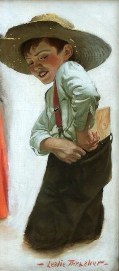 'Portrait of a Boy' by Leslie Thrasher (American- 1889-1936) : Original Oil on Canvas