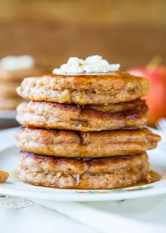 Apple Pie Pancakes with Vanilla Maple Syrup