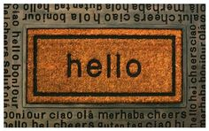 Nach International Hello Printed Rubber Backed Mat with Coir Insert by NACH. $36.66. Coir mat with vinyl back inserted in rubber mat. Coir fiber is bleached to achieve more vibrant color. Beautiful copper finish on the rubber mat. heavy rubber mat printed with Hello with several languages, with coir mat insert