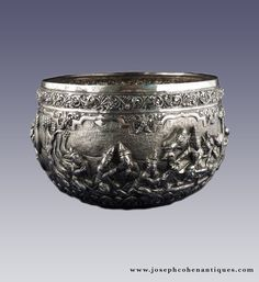 ANTIQUE INDIAN SILVER BOWL, BURMA, BURMESE, MYANMAR - LATE 19TH CENTURY