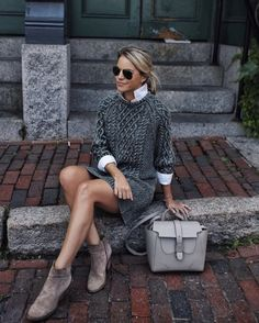 Fall Outfits To Copy This Season: grey cable knit sweater dress, grey booti. - - Fall Outfits To Copy This Season: grey cable knit sweater dress, grey booties, white high neck shirt, grey bag. The best fall fashion to get you i. Trendy Fall Outfits, Fall Outfits For Work, Winter Fashion Outfits, Fall Winter Outfits, Sweater Fashion, Autumn Winter Fashion, Fashion Clothes, Dresses For Winter, Cold Weather Outfits For School