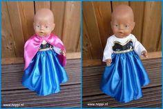 BabyBorn 43cm: Feest- en verkleedkleding Nappi.nl   Anna jurkje uit de film frozen, eigen ontwerp
