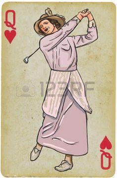 Naipe, Queen - vintage del golfista, una mujer. Dibujo a mano alzada, vector. Vector es f�cil editable por capas. Antecedentes (tarjeta) tambi�n est� aislado. photo