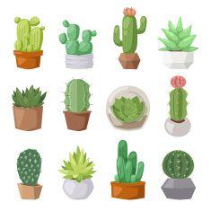 Cute cartoon cactus collection flat nature vector illustration vector art illustration