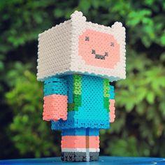 3D Finn Adventure Time perler beads by wanam42