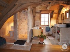 renovated bathroom in a 17th century house in France