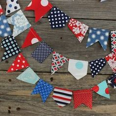 Image of scrappy bunting - patriotic