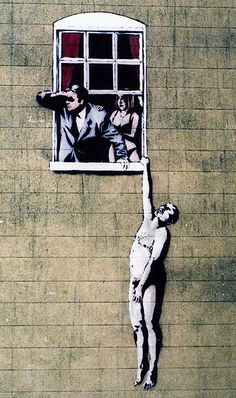 Naked Man image by Banksy, on the wall of a sexual health clinic[31] in Park Street, Bristol. Following popular support, the City Council has decided it will be allowed to remain