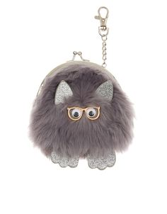 This novelty faux fur monster bag charm clips onto the handle of your favourite tote, and doubles up as a coin purse too! How To Make Purses, Blue Suede Shoes, Luxury Sunglasses, Unique Bags, Leather Key, Kids Bags, Fabric Flowers, Women's Accessories, Coin Purse