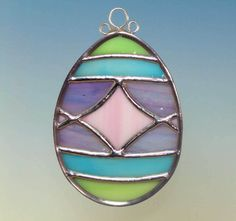 Pastel Decorated Stained Glass Easter Egg by TheGlassCottage