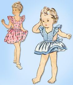 1940s Original Vintage Simplicity Pattern 1372 Baby Girls Pinafore Sun Dress Sz1