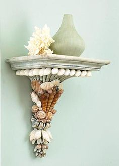 sea shell crafts, furniture decoration and decor accessories adorned with seashells