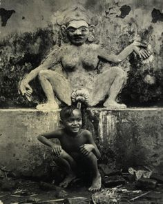Bathing in Bali. Circa 1920.