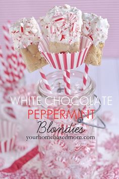 white chocolate peppermint blondies on a stick @yourhomebasedmom.com  #blondies,#foodonastick,#recipes
