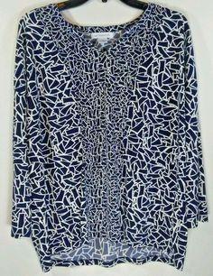 Liz Claiborne Women's blouse Black White Geometric Pattern L Top blouses #LizClaiborne #Blouse #EveningOccasion