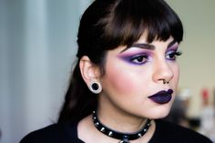 Glittery Purple Smokey Eye - Goth Makeup Inspired Tutoral