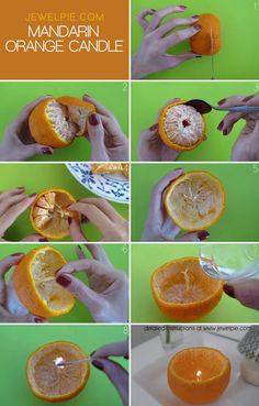 Turn your mandarin orange into an aromatherapy candle!  