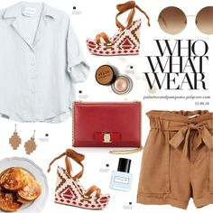 A fashion look from June 2016 featuring MANGO shorts, Gianvito Rossi sandals and Salvatore Ferragamo shoulder bags. Browse and shop related looks.
