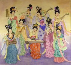 A Concert By Eight Goddesses Painting