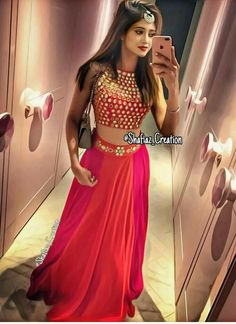Tafeta silk Lehenga with embroidery on the waist . Lehenga has Mtr flair. Tafeta silk blouse with original mirror work. Blouse can be stitched to Lehenga can be stitched to waist Perfect to wear at a Wedding or special occasion. Lehenga Designs, Indian Wedding Outfits, Indian Outfits, Bridal Outfits, Indian Dresses, Wedding Dress, Indian Designer Outfits, Designer Dresses, Stylish Dresses