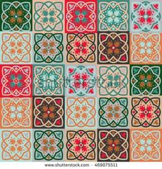 Gorgeous seamless mix pattern from colorful floral Moroccan, Portuguese tiles, Azulejo, ornaments. Can be used for wallpaper, pattern fills, web page background,surface textures.