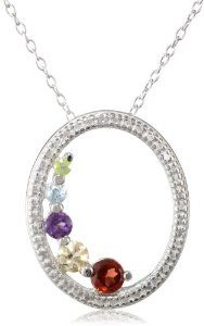 "Sterling Silver Multi-Gemstone and Diamond Accent Pendant Necklace, 18"" available at joyfulcrown.com"