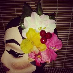 Cute pink yellow and white tone hairpiece with cranberries available for $10 plus shipping. ..leave your email to purchase.  #deadlydinaaccessories #vibrant #colorful #cranberries #pinktones #yellowtones #whiteflowers #tikioasis #tiki #tropical #luau #hawaiin #hairflowers #hairpiece #hairaccessories #pinup #rockabilly #vintageinspired #retro