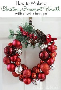 Save money this year with these DIY Dollar Store Christmas decorations! These Dollar Store Christmas Decor ideas are incredibly cute & easy! Christmas Ornament Wreath, Christmas Ornaments To Make, Christmas Wreaths, Christmas Crafts, Christmas Ideas, Ornament Wreath Hanger, Simple Christmas, Christmas Holidays, Christmas Tree