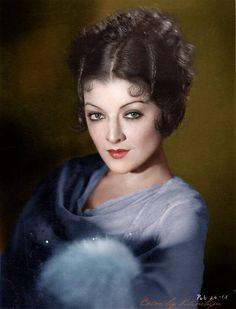 Myrna Loy, color photograph.