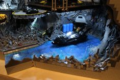 """) Batcave diorama, assembled by """"Brothers Brick"""" (a. Carlyle Livingston II & Wayne Hussey), took 800 hours to assemble and over LEGO! It also weighs over 100 pounds! Batman Batcave, Lego Batman, Batman Party, Lego Blocks, Lego Room, Cool Lego Creations, Lego Parts, Lego Super Heroes, Lego Pieces"""