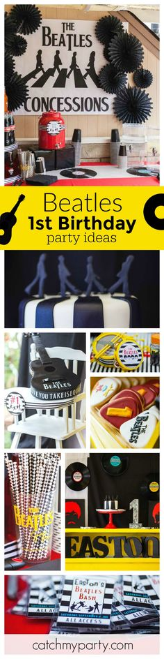 This Beatles Bash is such a cool theme for a 1st birthday party! The bands stage photobooth is awesome! See more party ideas at CatchMyParty.com
