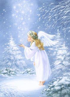 Leading Illustration & Publishing Agency based in London, New York & Marbella. Christmas Scenes, Christmas Mood, Christmas Pictures, Christmas Angels, Angel Images, Angel Pictures, Angel Artwork, Cute Christmas Wallpaper, Winter Painting