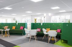 Microsoft Headquarters Stockholm BCN stool + Elephant Chair on wooden base Interior Work, Interior Design, Green Office, Ibm, Seat Cushions, Design Projects, Chair, Stool