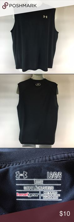 Under armor men's L black loose muscle shirt tank This is a men's size large under armor loose fit heat gear muscle tank top. 100% polyester in great condition without any flaws. Measurements are 24 inches across flat front of chest and 28.5 inches in length from top of shoulder to bottom hem. Under Armour Shirts Tank Tops