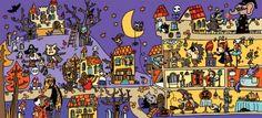 Colección de Láminas en color XL  para trabajar atención, percepción vocabulario HALLOWEEN
